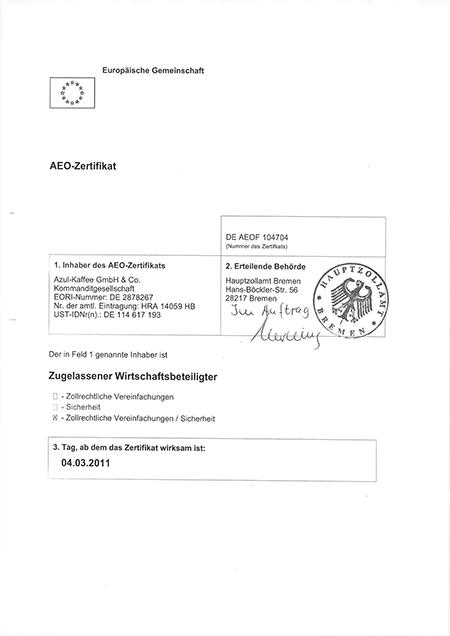 AZUL Kaffee AEO-Zertifikat