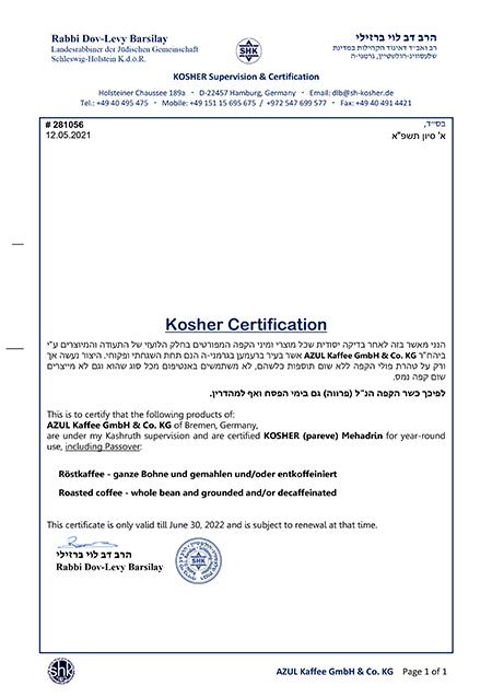 Azul Kosher Zertifikat 2021-22